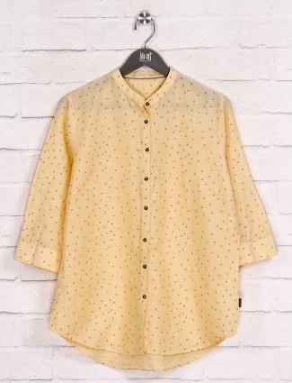 Chinese neck yellow printed shirt