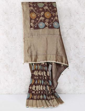 Chocolate brown colored muga silk saree