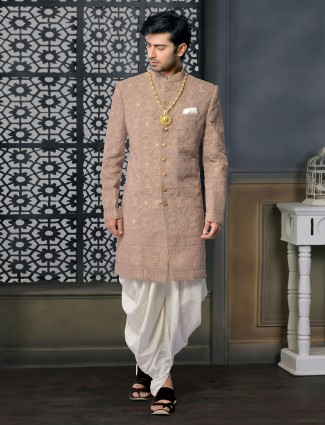 Chocolate brown silk designer sherwani set