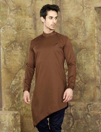 Chocolaty brown cotton short kurta