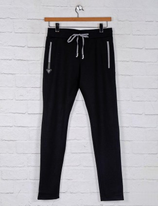 Chopstick black cotton solid mens track pant