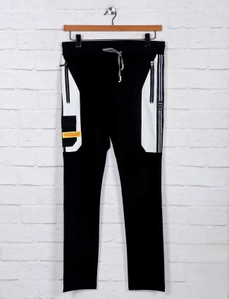 Chopstick black cotton solid track pant