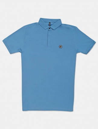 Chopstick blue solid slim fit polo t-shirt