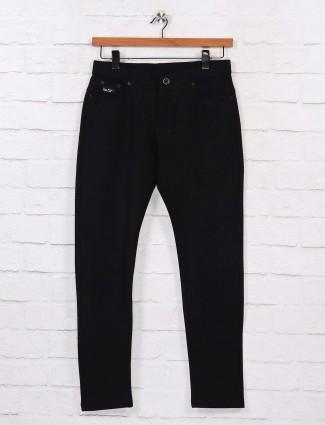 Chopstick casual wear black solid trouser pant
