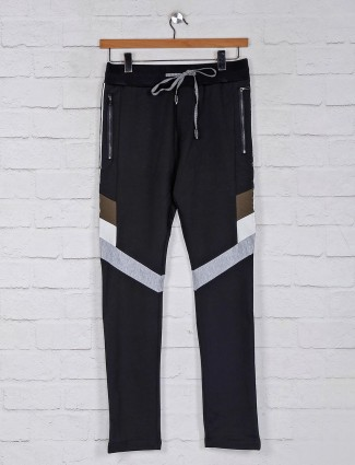 Chopstick cotton black solid track pant