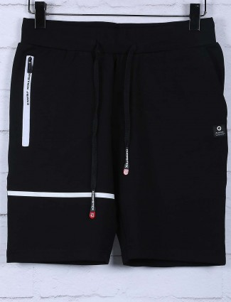 Chopstick cotton fabric black solid shorts