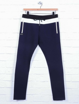 Chopstick cotton fabric navy hue track pant