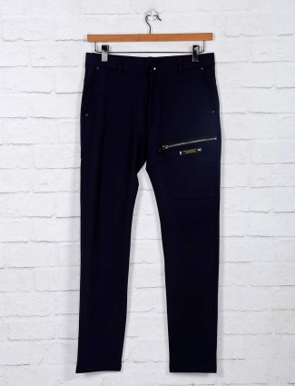 Chopstick cotton navy solid track pant