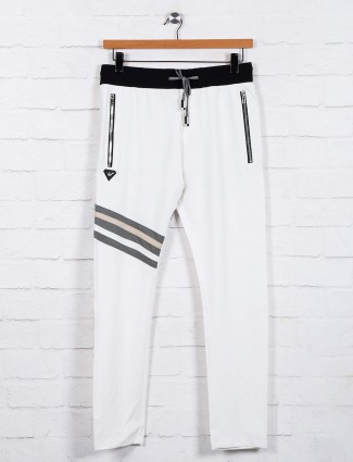 Chopstick cotton white solid track pant