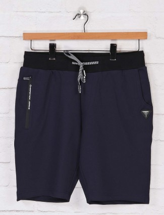Chopstick navy casual wear solid shorts