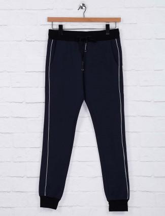 Chopstick navy hued cotton comfortable track pant