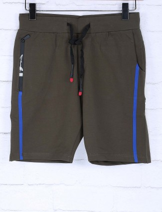 Chopstick olive hued simple mens shorts
