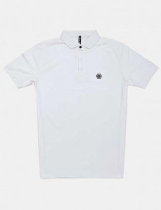 Chopstick polo neck solid white t-shirt