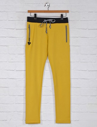 Chopstick presented yellow cotton track pant