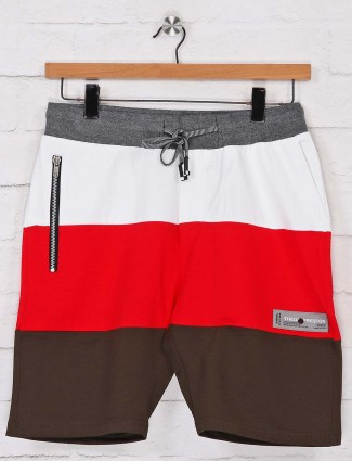 Chopstick red and white solid casual shorts