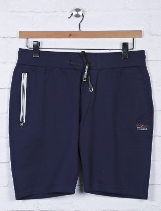 Chopstick solid navy slim fit shorts