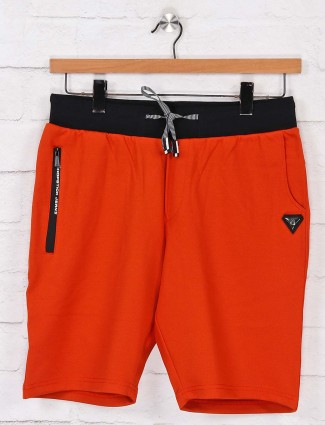 Chopstick solid orange cotton shorts