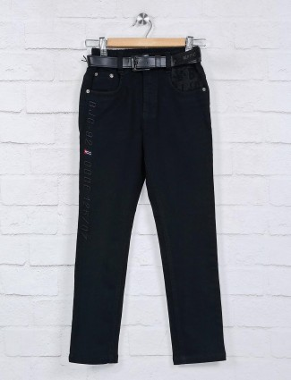 Cityboy black solid elasticated jeans