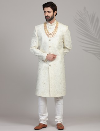 Clasic embroidered pista green silk sherwani