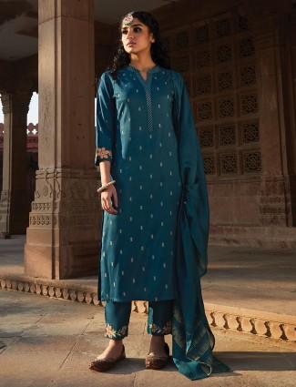 Classic blue cotton punjabi pant suit