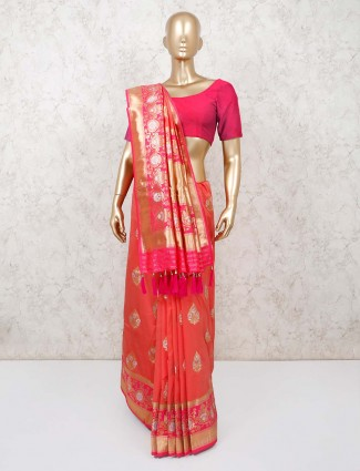 Classic bright peach dola silk saree
