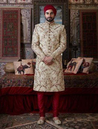 Classic cream raw silk groom wear sherwani suit