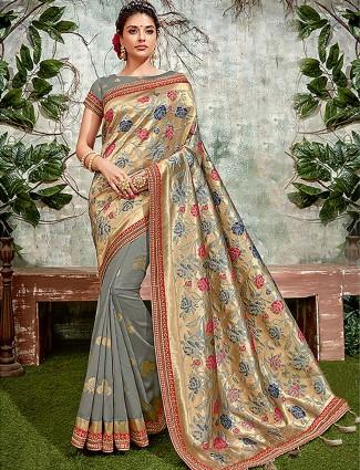 Classic grey hue semi silk festive saree