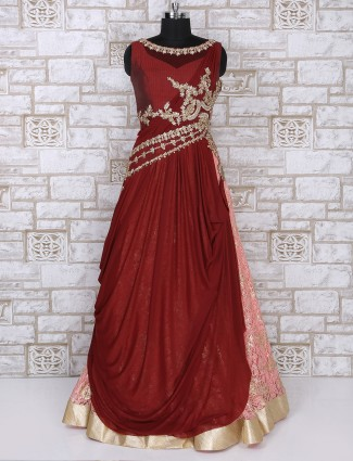 Classic maroon color silk gown