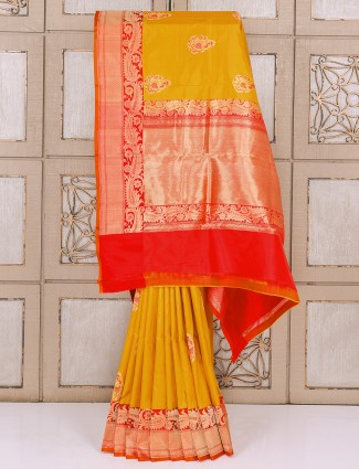 Classic mustard yellow color silk saree