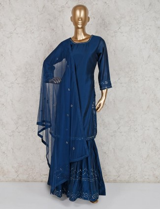 Classic navy cotton silk punjabi sharara suit