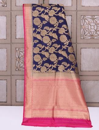 Classic navy silk saree