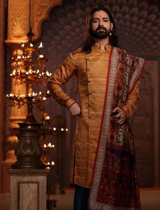 Classic orange raw silk kurta suit