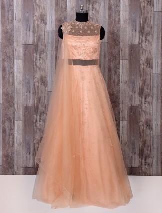 Classic peach color designer gown