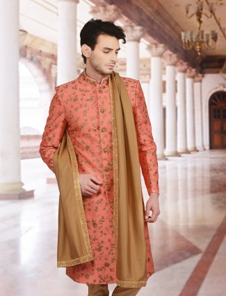 Classic pink silk wedding wear sherwani