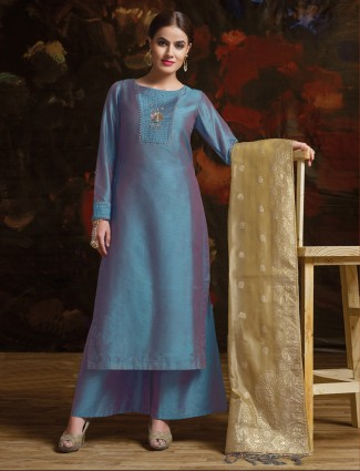 Classic rama blue color silk palazzo suit