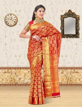 Classic red bridal wear saree