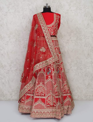 Classic red silk semi stitched lehenga choli for bridal wear