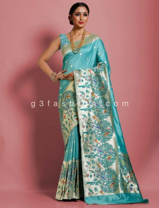 Classic sea green pure banarasi silk saree