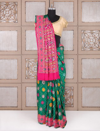 Classic silk fabric green saree