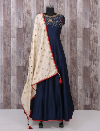 Classic silk fabric navy anarkali suit