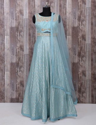 Classic sky blue silk anarkali suit