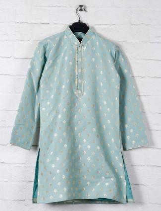 Classy aqua cotton kurta suit