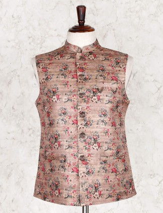 Classy beige printed cotton silk waistcoat for party