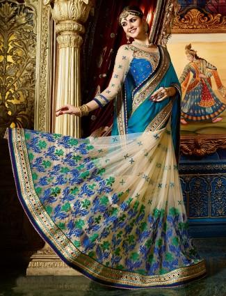 Classy blue cream chiffon net designer saree