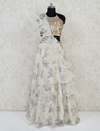 Classy cream organza tissue silk wedding lehenga choli