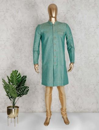 Classy green silk semi indo western