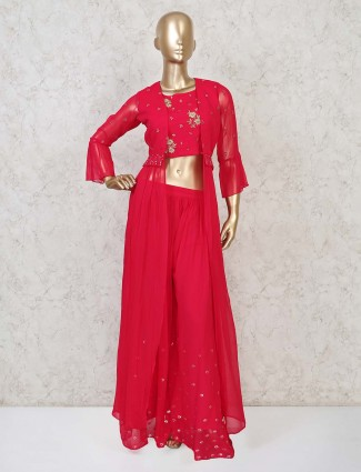 Classy indo western style magenta palazzo suit