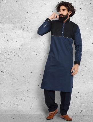 Classy navy plain cotton pathani suit
