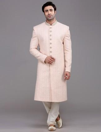 Classy peach silk lakhnavi thread woven sherwani
