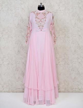 Classy pink georgette floor length anarkali suit